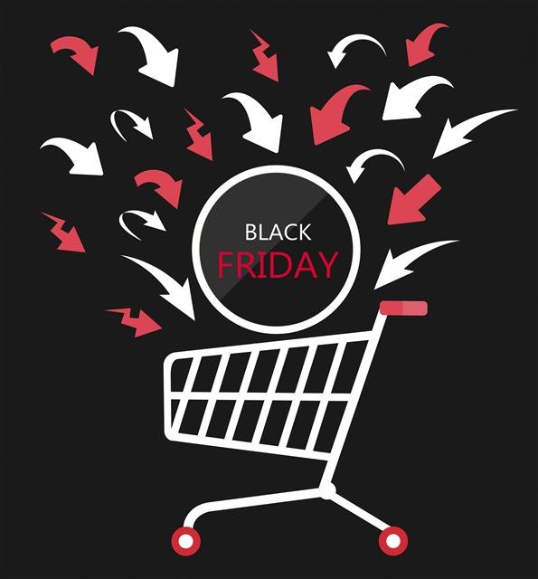黑色星期五购物车插画