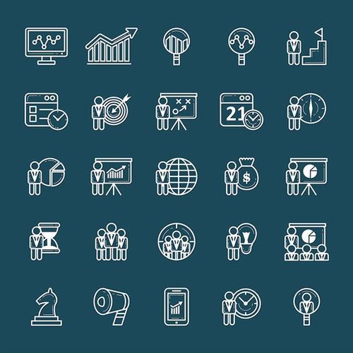 公司企业icon线性商务图标