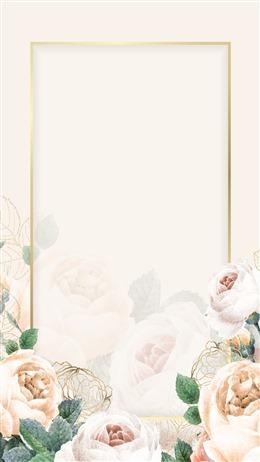 手绘花卉装饰婚礼邀请函背景