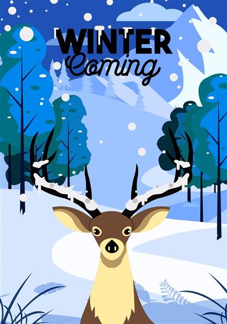 冬天麋鹿森林背景插画