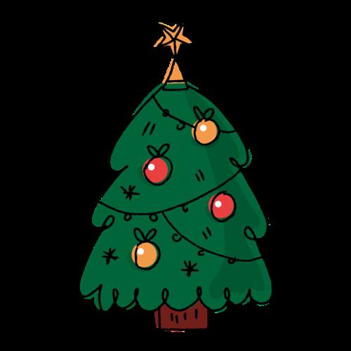 彩色手绘圣诞树矢量图