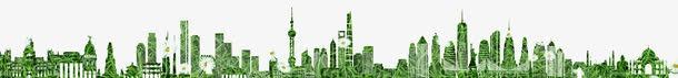 绿色城市剪影矢量图