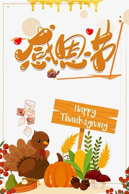 原创感恩节火鸡节日海报