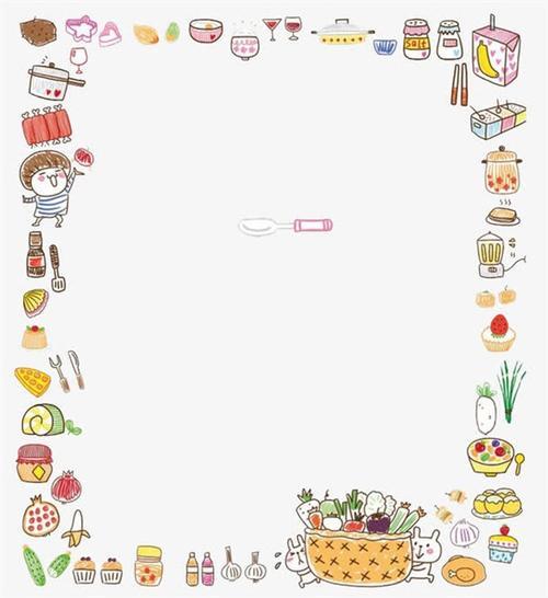 手绘美食食物边框图片