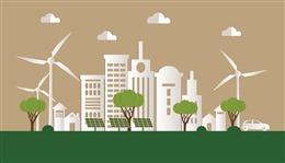 绿色城市剪纸插画