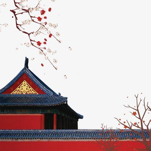 唯美故宫红墙梅花图片