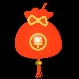 手绘红色福袋新年元素