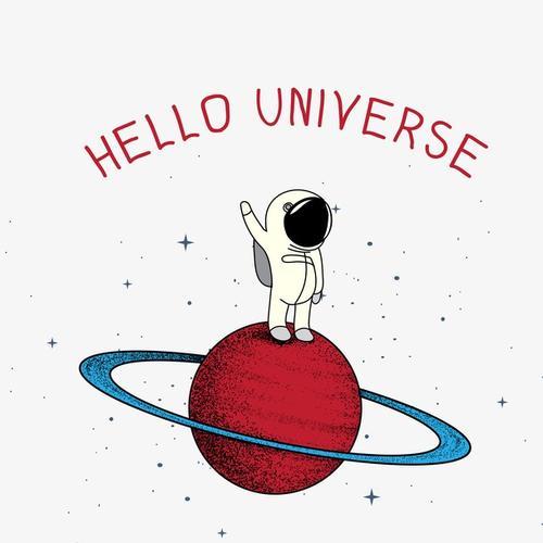 太空宇航员彩色插画