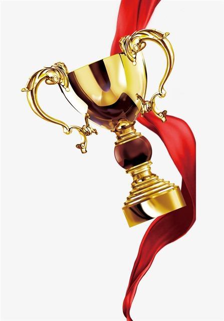 红绸带金色奖杯