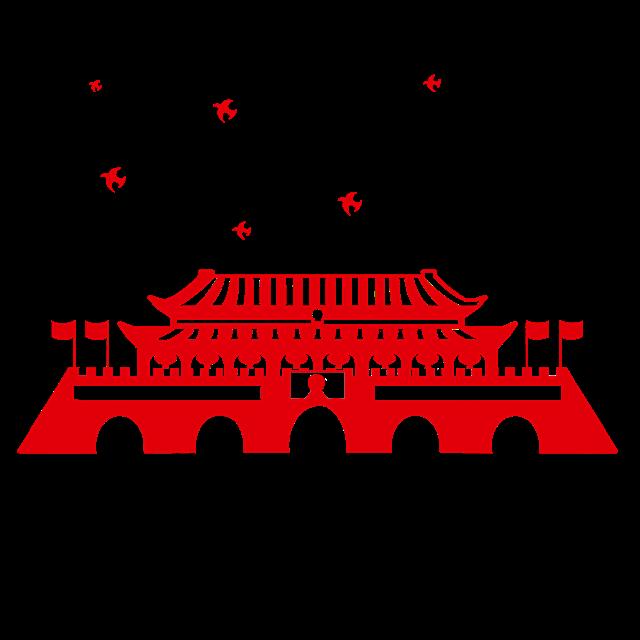 剪纸风红色天安门装饰