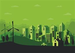 环保城市剪纸插画