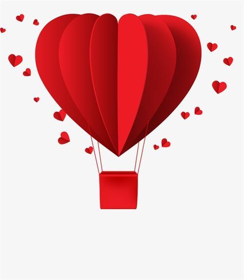 红色爱心热气球矢量