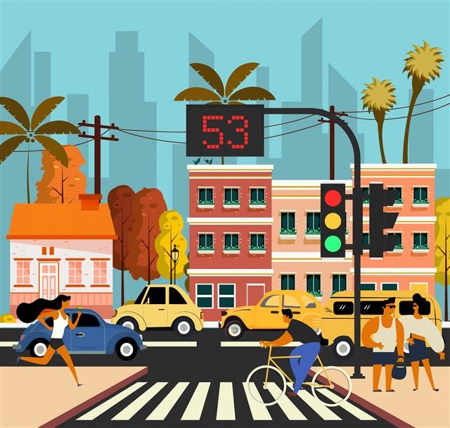 城市十字路口插画