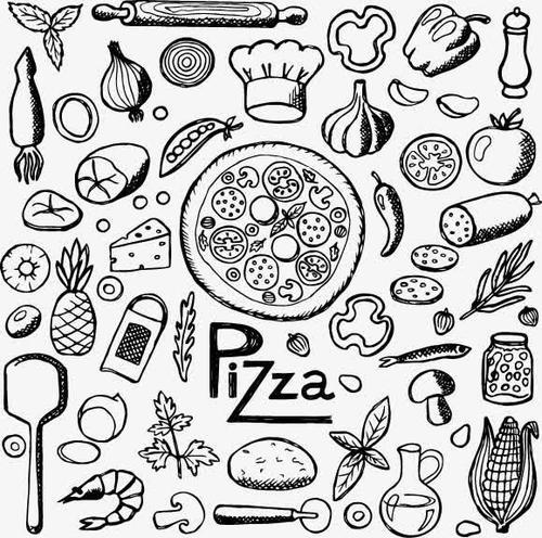 披萨手绘线稿