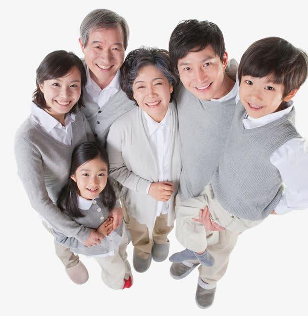 家庭成员俯拍照片