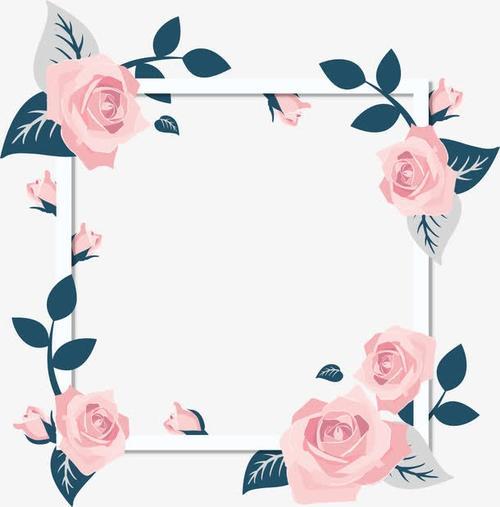 情人节粉色玫瑰花边框图片