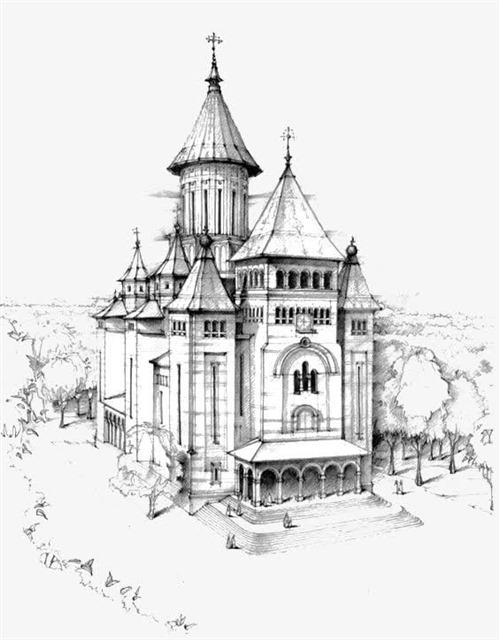 手绘素描城堡建筑图片