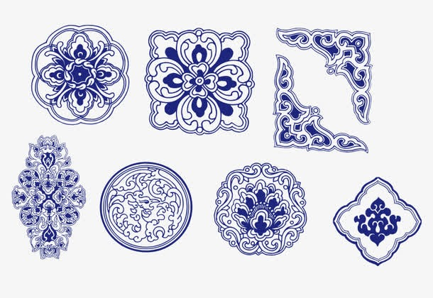 传统青花瓷花纹边框