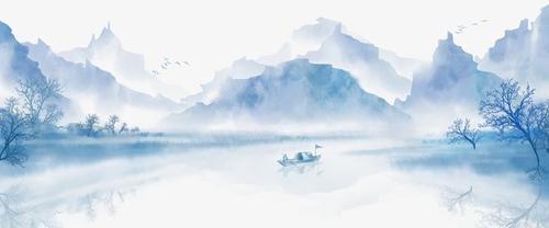 水墨山水矢量图