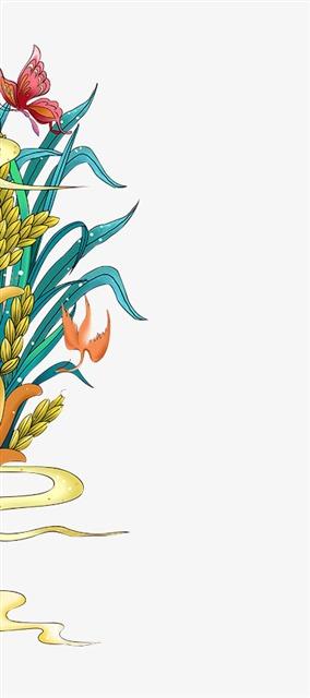 国潮风水稻装饰插画图片
