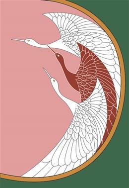 浮世绘仙鹤背景
