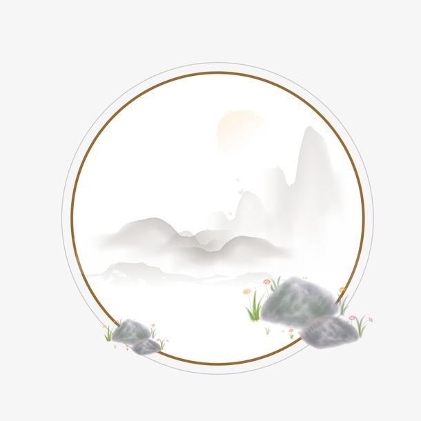 中国山水画免抠图
