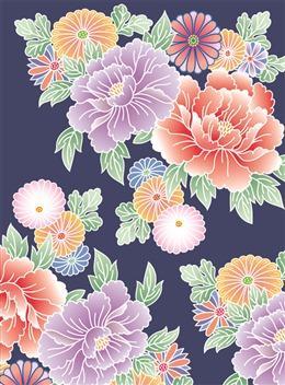 日式牡丹花背景墙