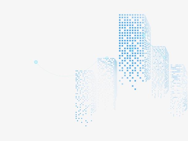 蓝色矢量城市剪影