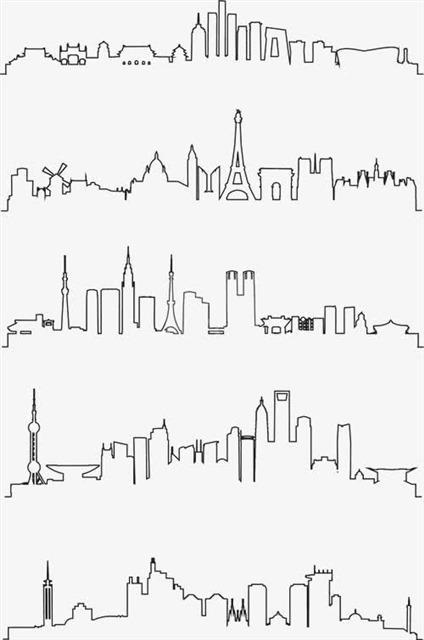 手绘线描城市建筑风景