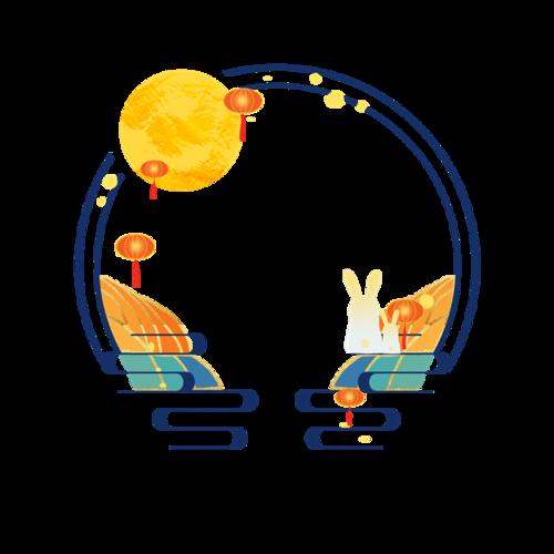 中国古典月亮灯笼边框