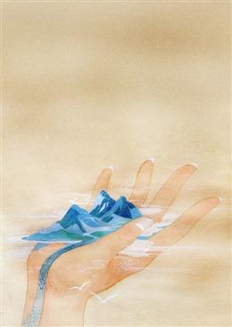 抽象古风山水插画