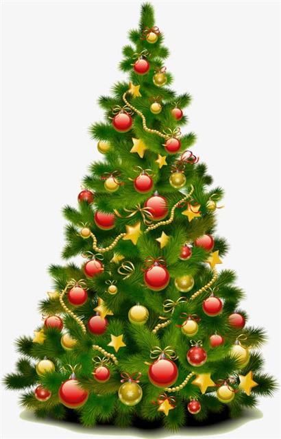 挂满彩球的圣诞树