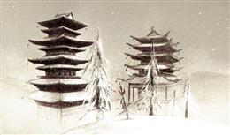 古风雪景楼阁插画