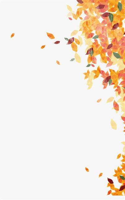 手绘秋天叶子飘落图片