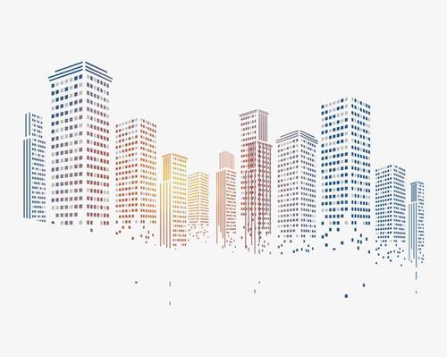 渐变城市剪影