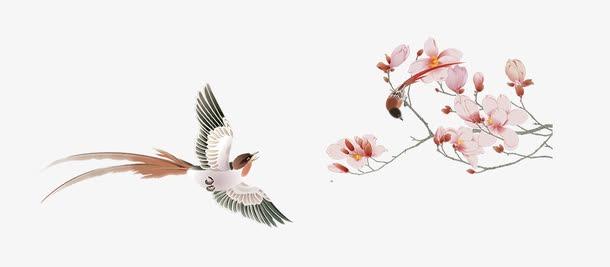 喜鹊枝头水彩画
