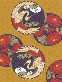仙鹤手绘背景
