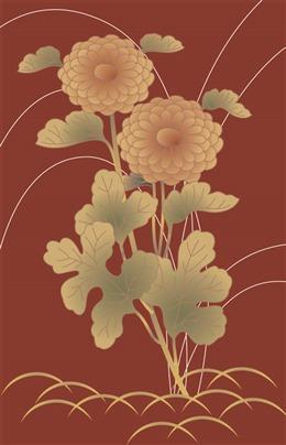 日式烫金花卉背景