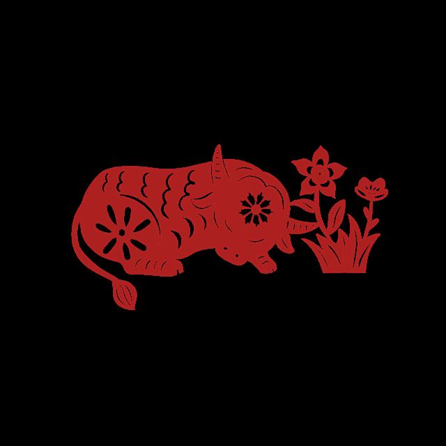 红色牛年剪纸图案