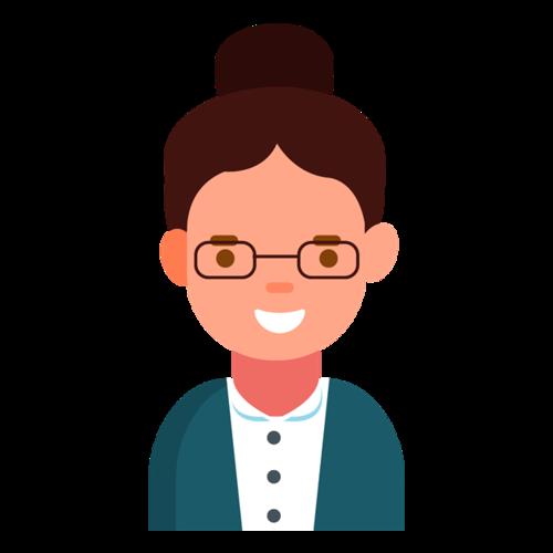 戴眼镜的职业女性卡通图片