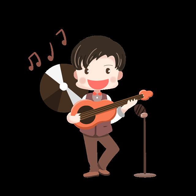 男孩弹吉他卡通插画