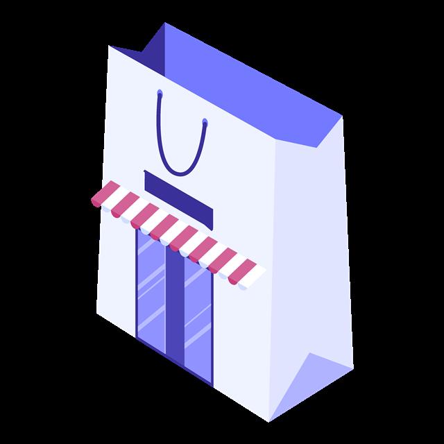 创意购物袋扁平化立体插画