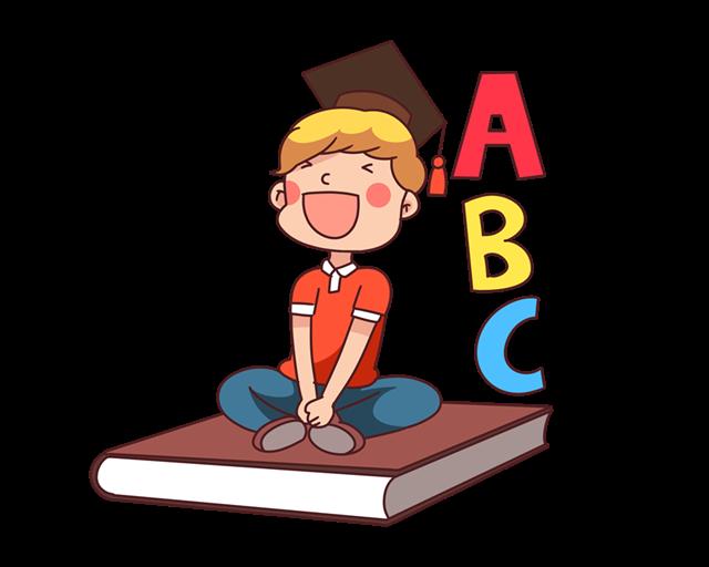 英语辅导卡通人物插画