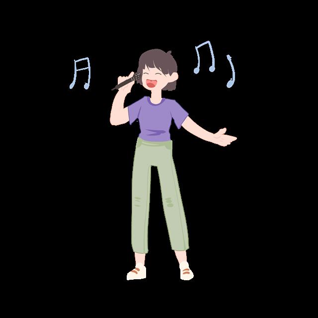 女孩唱歌卡通人物插画