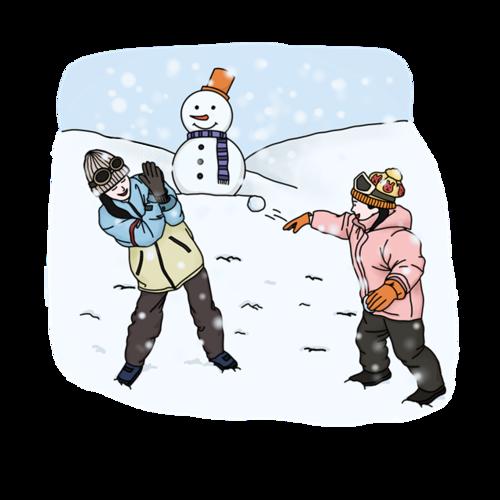 立冬打雪仗卡通人物插画