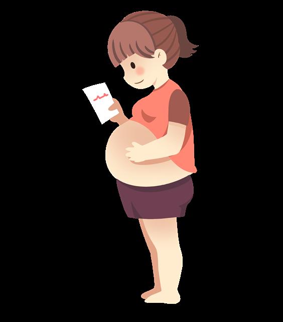孕妇妈妈产检卡通图片