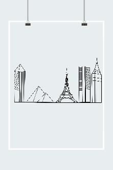 线描城市地标建筑