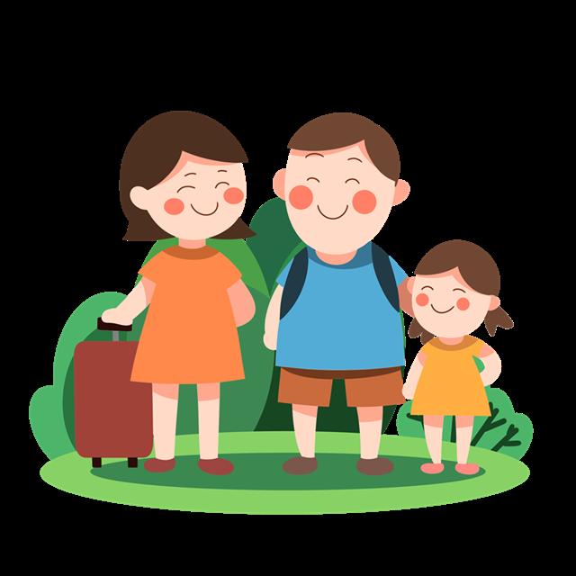 一家人旅游插画