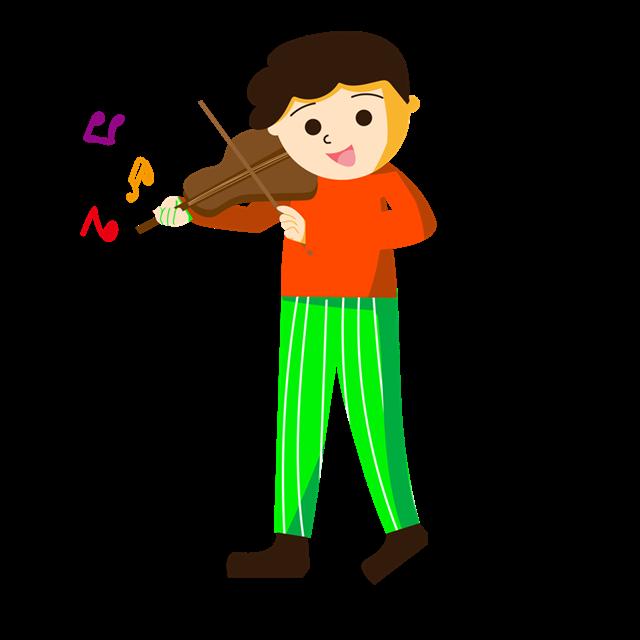 男孩拉小提琴音乐培训卡通插画