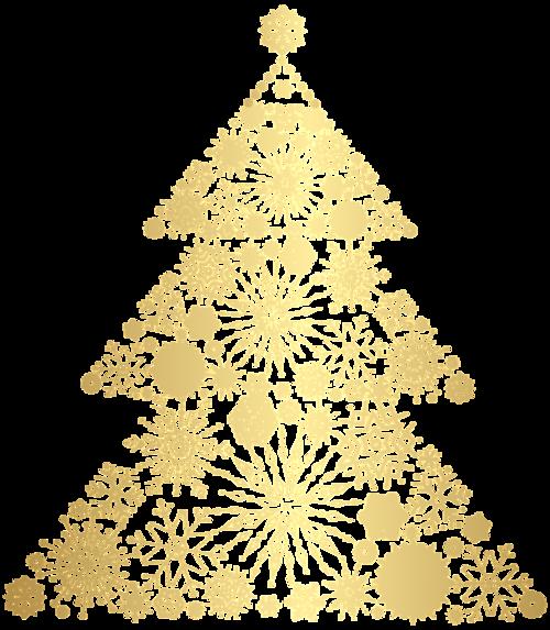 金色圣诞树剪纸图案